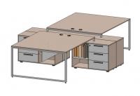 Стол офисный модульный на металлокаркасе Quarto-4 с тумбами