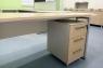 Стол офисный модульный на металлокаркасе Quarto-1 с мобильной тумбой и шкафом