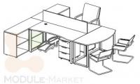 Стол офисный модульный на металлокаркасе Quarto-2 с мобильной тумбой и шкафом