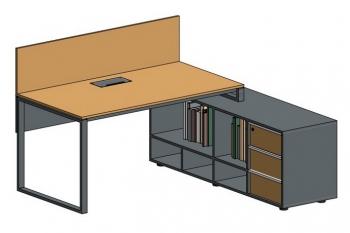 Стол офисный модульный на металлокаркасе Quarto-1 с тумбой